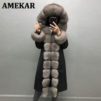 Women\'s winter fox fur parka long coat real fox fur fur collar hooded fur coat, real rabbit fur lining winter warm jacket