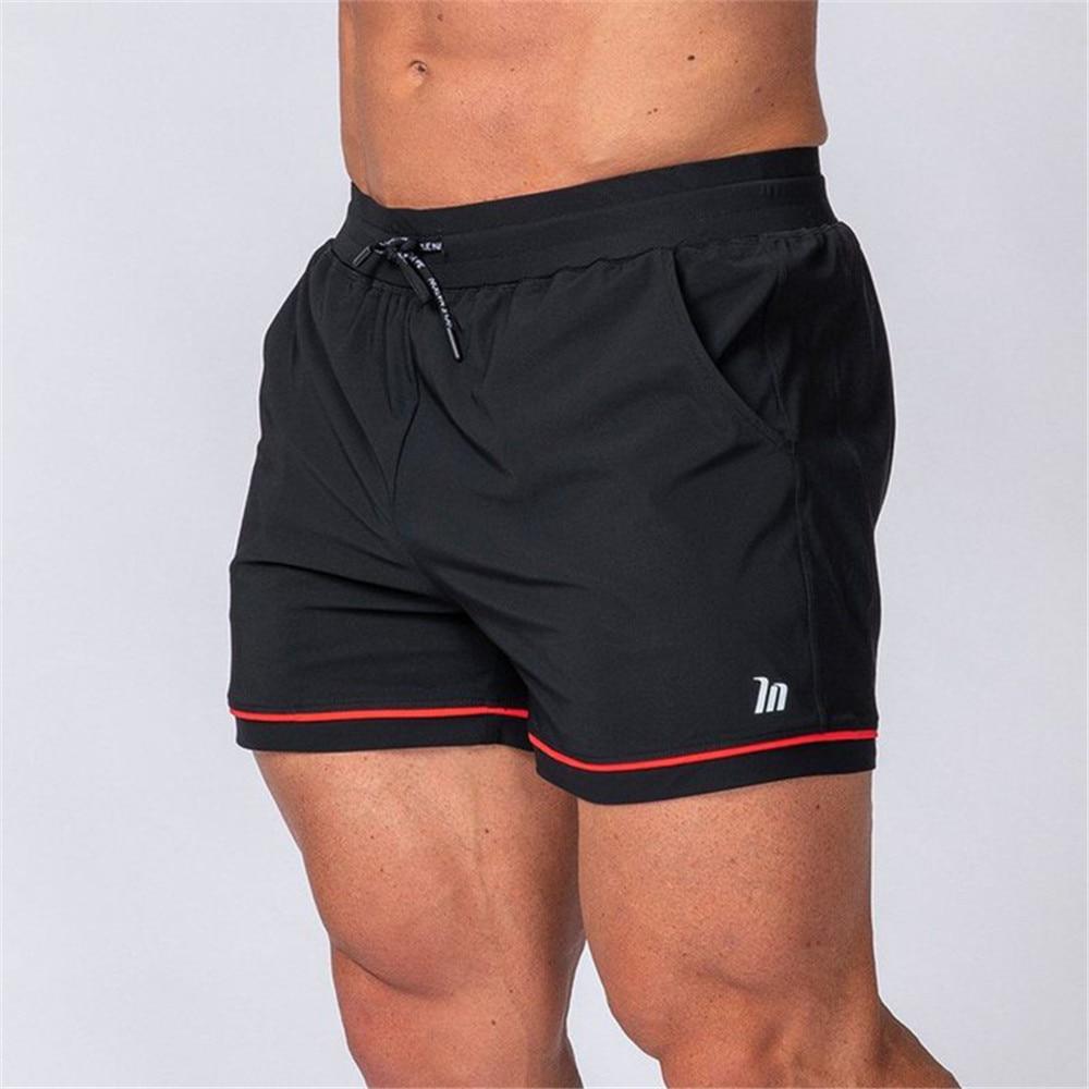 Black Casual Quick dry Shorts Men Gym Fitness Bodybuilding Skinny Bermuda Summer Crossfit Sport Shor