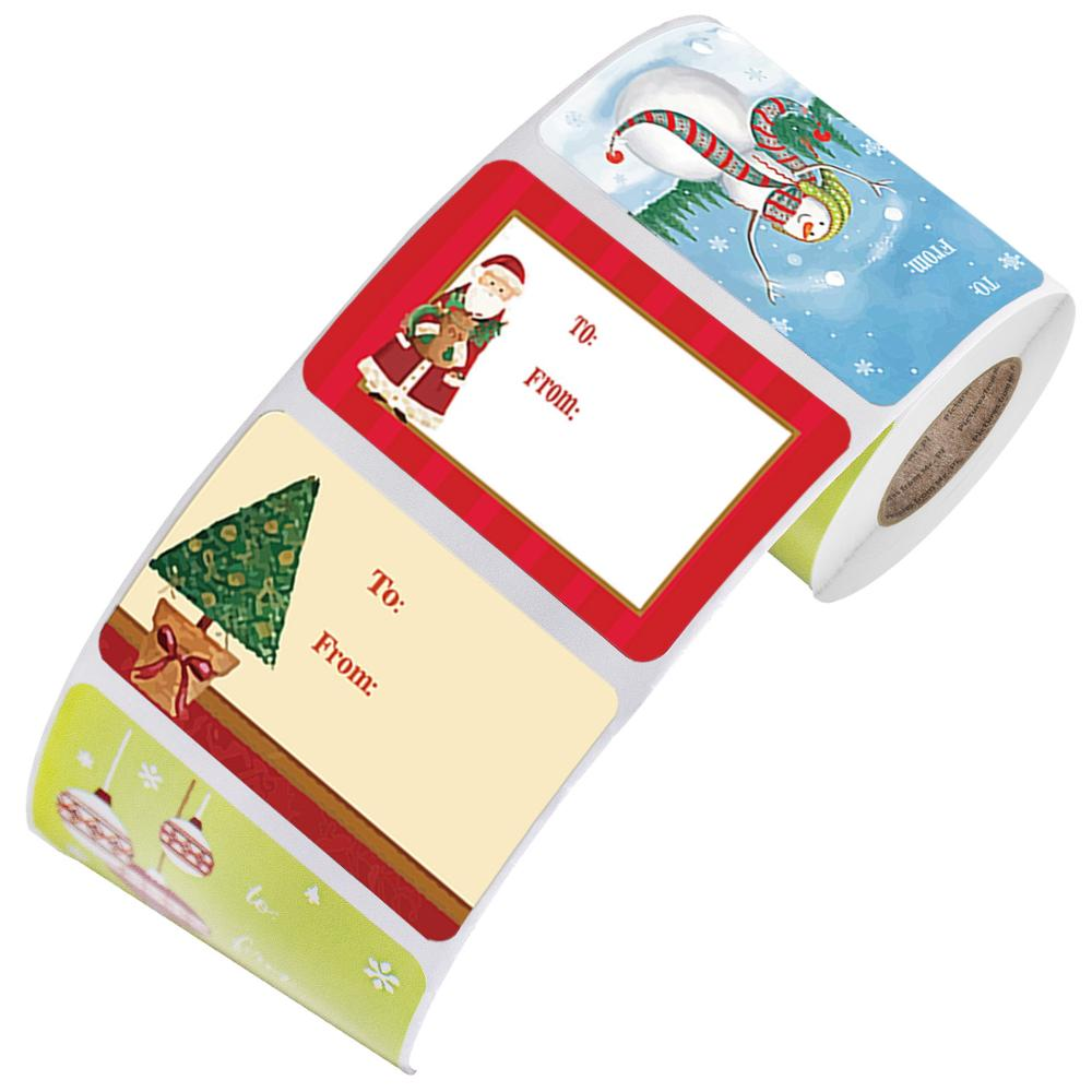AliExpress - 250pcs/roll 6 Designs Adhesive Christmas Gift Name Tags XMAS Stickers Present Seal Labels Christmas Decals Gift Package