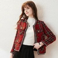 2021 spring high end lady elegant fashion o neck long sleeves plaid printed red nail beads tweed coats and jackets women clothes