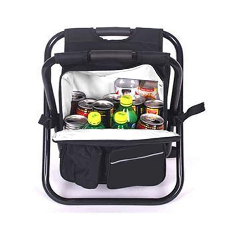 Folding Camping Fishing Chair Stool Backpack Insulated Cooler Bag Backpack Chair Hiking Seat Table Bag Soft Sided Cooler Chair enlarge