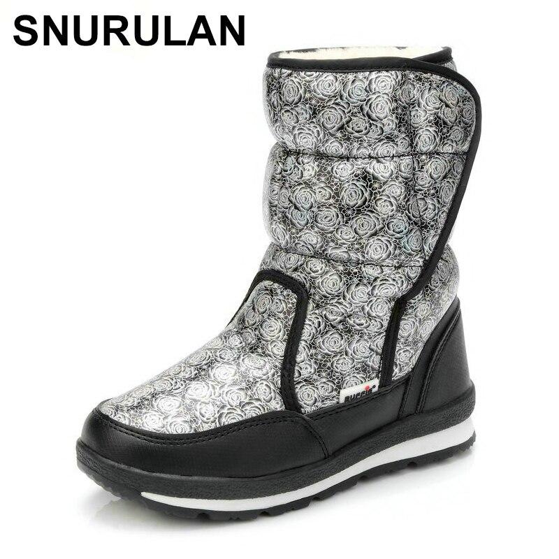 SNURULAN botas de mujer de gran tamaño, botas de invierno de tela media-alta, Plata con negro, con suela resistente CJX1035