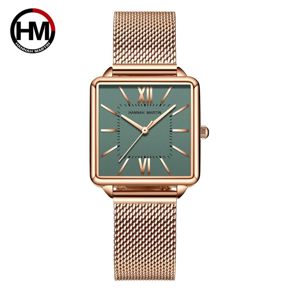 ساعة كوارتز يابانية للنساء ، مينا أخضر ، مربع روماني ، ستانلس ستيل ، عصري