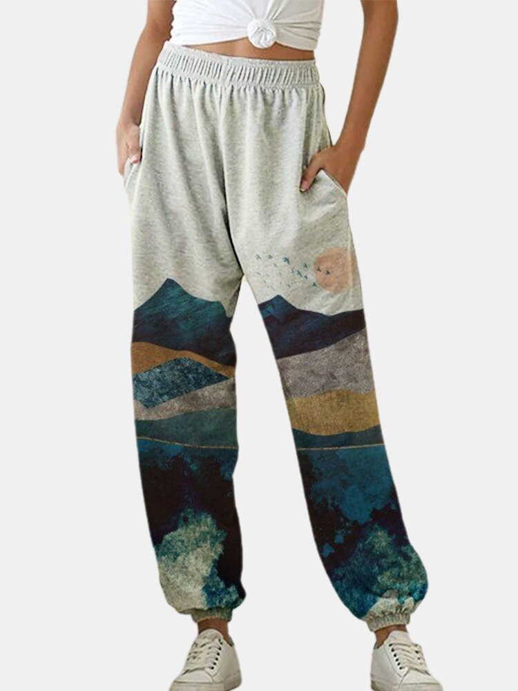 Jodimitty sweatpants mulheres baggy pintura imprimir calças esportivas joggers perna larga de grandes dimensões streetwear alta cintura calças femininas