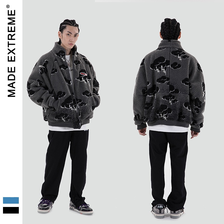 MADEEXTREME Fleece Jacket for Men Winter Fashion Trend Warm Clothes Teenager Loose Fit Padded Coat Harajuku Streetwear DP816