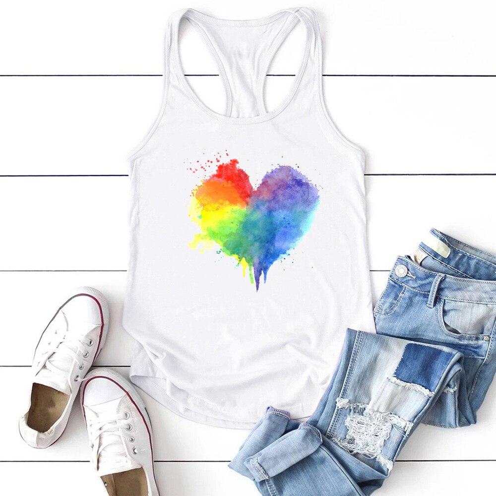 Camiseta sin mangas con estampado de corazón multicolor para mujer, remera sin...
