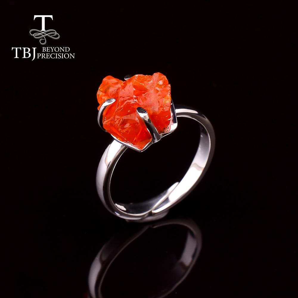 Anillo de ópalo de fuego 2020 Natural de México, anillo áspero de piedras preciosas hecho a mano, joyería fina de Plata de Ley 925 para mujer, piedra natal de octubre