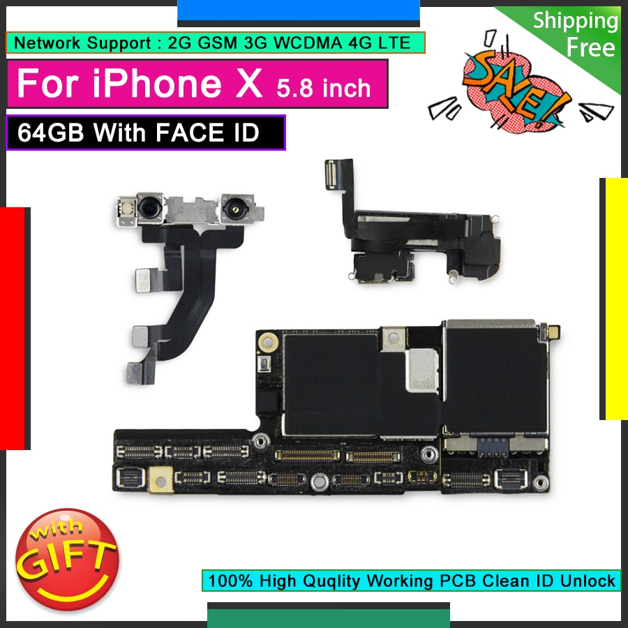 Review Original Motherboard For IPhone X 64GB with Face ID Unlocked Mainboard Free iCloud Logic Board Good Plate Working Face Function