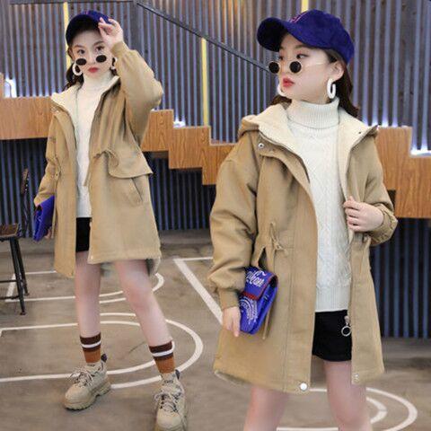 Kids Trench Coat With Hooded Fashion 2020 Winter Outdoors Long Windbreaker Thicken Velvet Warm Coat Children Girls Outwear W946 enlarge