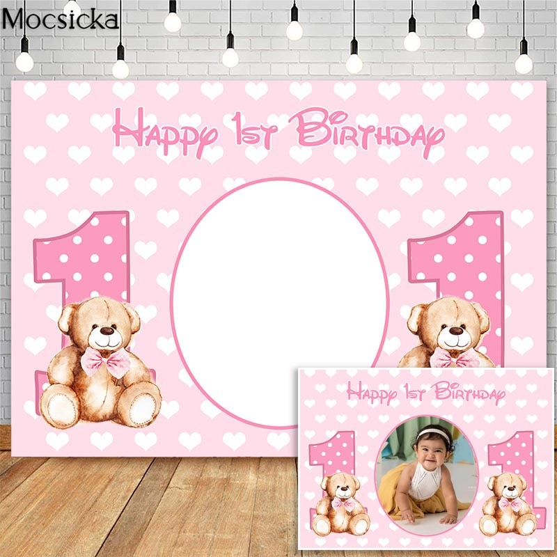 Mocsicka Girl Happy 1st Birthday Pink Backdrop Baby Shower Photography Background Custom Poster Dessert Table Decorations Props