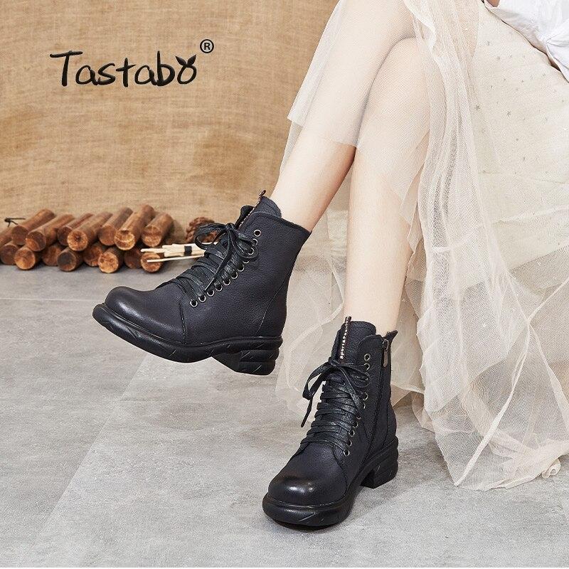 Женские ботильоны из натуральной кожи; Цвет черный, коричневый; Простые женские ботинки; Удобные рабочие ботинки на резиновой подошве в сти...