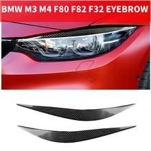 2 pçs estilo do carro de fibra de carbono real farol pálpebras sobrancelha para bmw série 4 f32 f33 f36 m3 f80 m4 f82 f83 capa parte 2014-2018