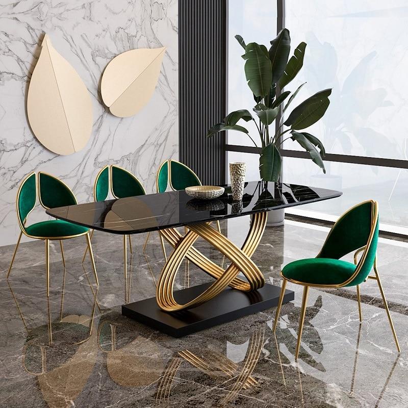 بسيطة خفيفة فاخرة الفولاذ المقاوم للصدأ الرخام طاولات الطعام الحديثة الإبداعية الذهبي مجموعة منضدة عشاء