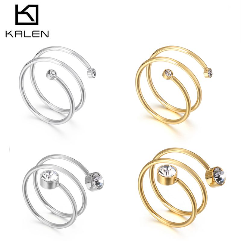 KALEN Stainless Steel Dubai Gold Multi-Layered Rings Women Size 6-9 Cubic Zirconia Minimalist Finger Midi Rings Femme Jewelry