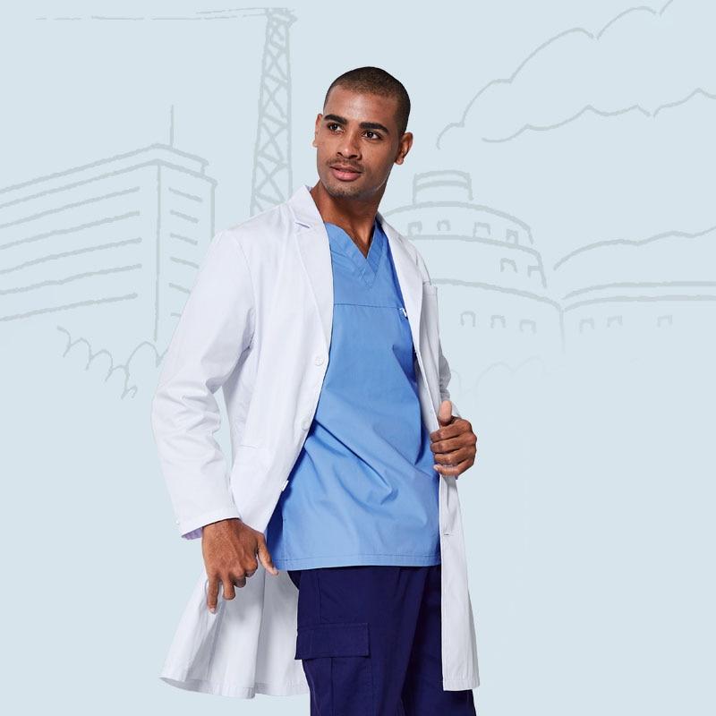 Мужские лабораторные пальто, куртка, Дамское пальто, белое, полная длина, принцесса, шов, длинные рукава, консультация, скраб, наряд FRDL1725