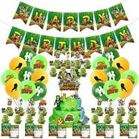wild theme birthday party supplies decoration happy birthday banner cake card latex balloon children invitation card