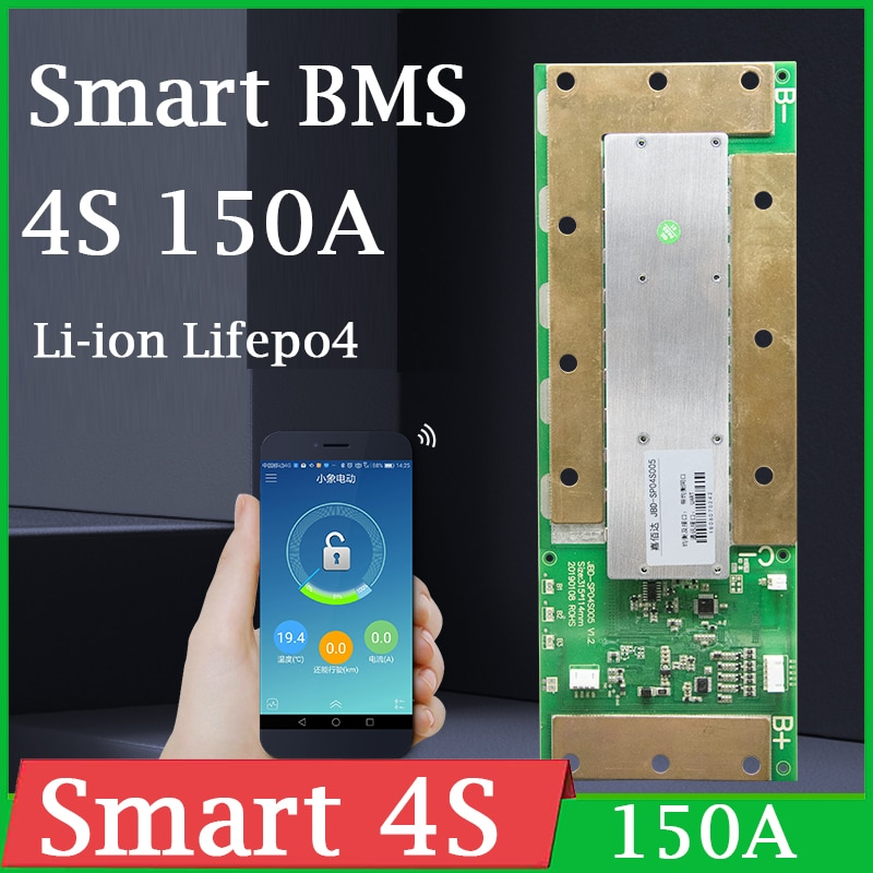Smart BMS 4S 12V 150A Li ion Lipo Lifepo4 Lithium Battery Protection Board balance Bluetooth Phone APP PC monitor 3.2V 3.7V X 4