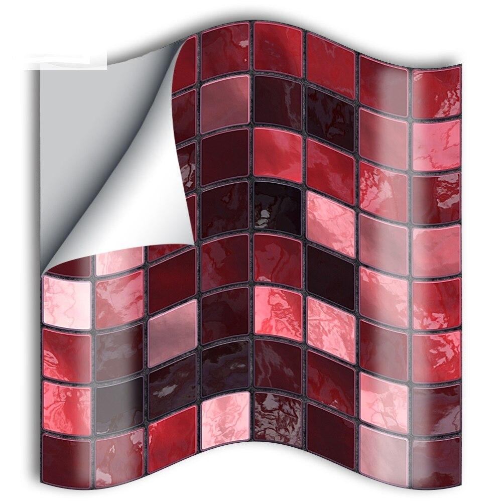 10 cm/15cmx25 Uds mosaico rojo PVC resistente al agua autoadhesivo adhesivo Adhesivo de pared para cocina muebles de baño SJ006