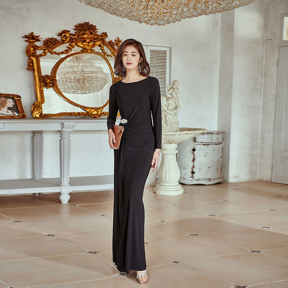 موضة 2021 فستان أسود طويل مستقيم ملابس مسائية نسائية للمكتب مطرز برقبة دائرية فستان نسائي طويل الأكمام