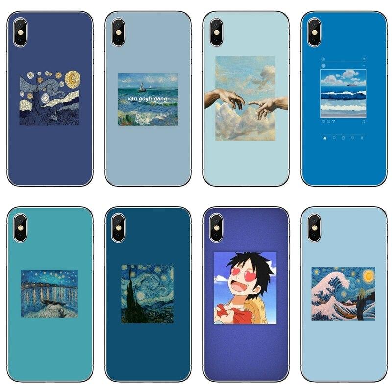 Blau Ästhetik Zubehör telefon Fall Für Huawei P30 P20 Pro P10 P9 P8 Lite Y5 Y6 Y7 Y9 P Smart plus 2018 2019