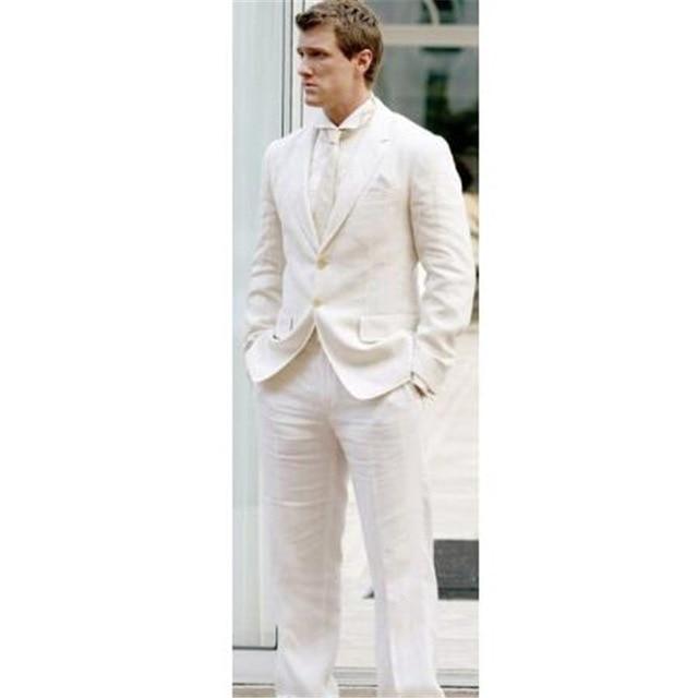 Causal Latest Coat Pants Designs Modern Men Blazer 2 Pieces (Jacket + Pants + Tie) Men Costume Ivory Linen Summer Elegant Tuxedo