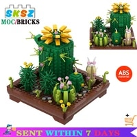 potted cactus building block desktop ornaments moc assembly plants bricks toys children kids education gifts boys grils diy toy