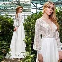 puffy long sleeve bride dress plus size boho wedding dresses 2021 a line wedding gown v neck vestido de noiva floor length gowns