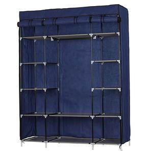 Тканевый шкаф для одежды органайзер 5 Слои 12 Отсек гардероб из нетканого материала Портативный шкаф военно-морской флот 133x46x170 см; Бесплатна...