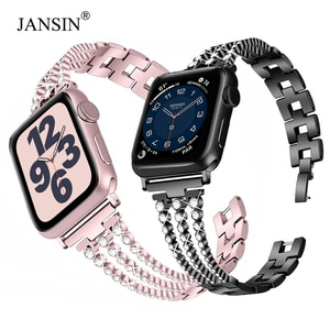 Women Diamond strap for iWatch 4 5 6 band 44MM 40MM SE Stainless Steel Bracelet Strap For Apple watch band 42mm 38mm Correa