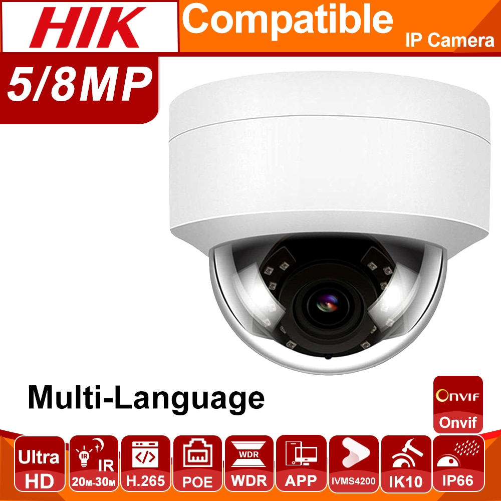 Hikvision Compatible cúpula 2MP 5MP 8MP IK10 IP66 POE cámara IP cámara de seguridad IR 30m ONVIF H.265 Plug & play con Hikvision NVR