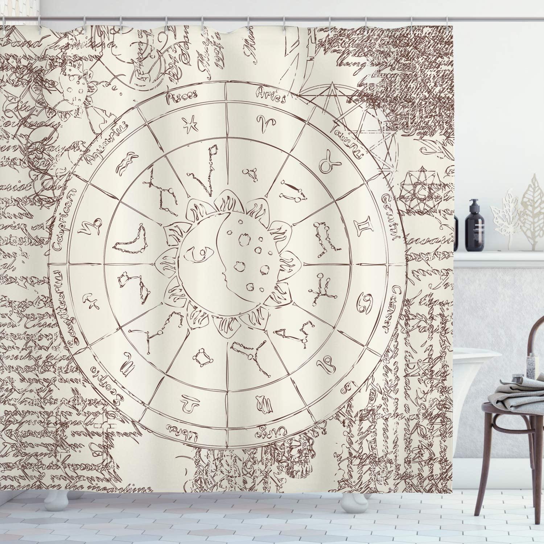 """Sol e lua cortina de chuveiro papiro imagem zodíaco com sun lua constelações horóscopo decoração do banheiro conjunto com ganchos 70 """"longo"""