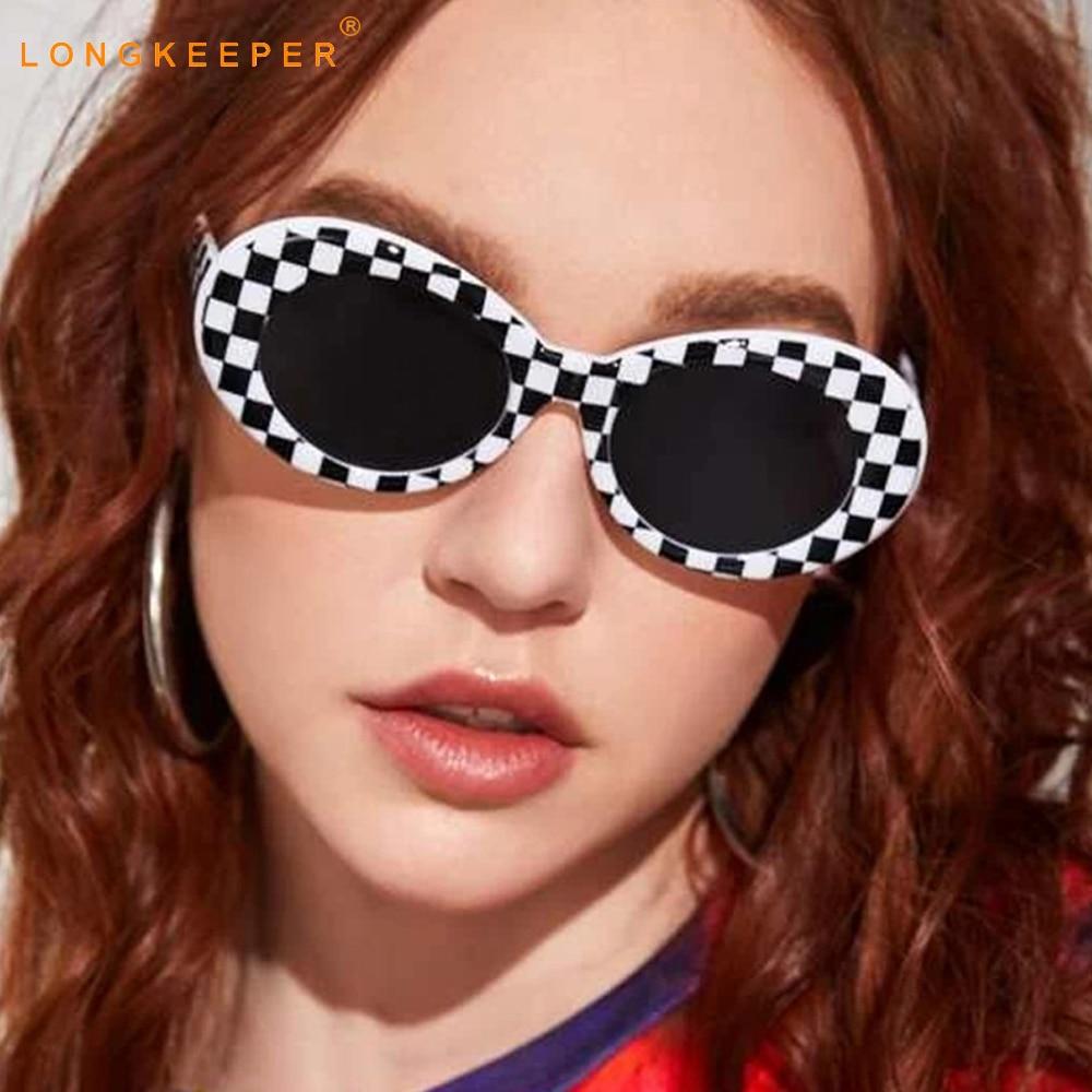 LongKeeper Fashion Classic Oval Sunglasses Women Men Vintage White Black Punk Sun Glasses Ladies Hip Hop Eyeglasses UV400 Gafas