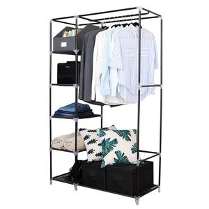 "【US Warehouse】64"" Portable Closet Storage Organizer Wardrobes Clothes Rack with Shelves Beige Garderobe Wardrobe"