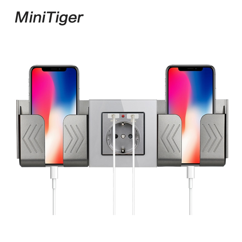 Minitiger Grey Wall Socket Phone Holder Smartphone Accessories Stand Support For Mobile Phone One /