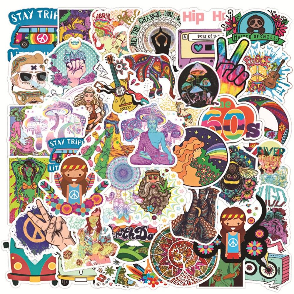 Adesivos hippie retrô grafite, adesivo diy de desenhos animados para skate, mala de skate, congelador, bagagem, motocicleta, decalques, brinquedos para crianças, 10/peças