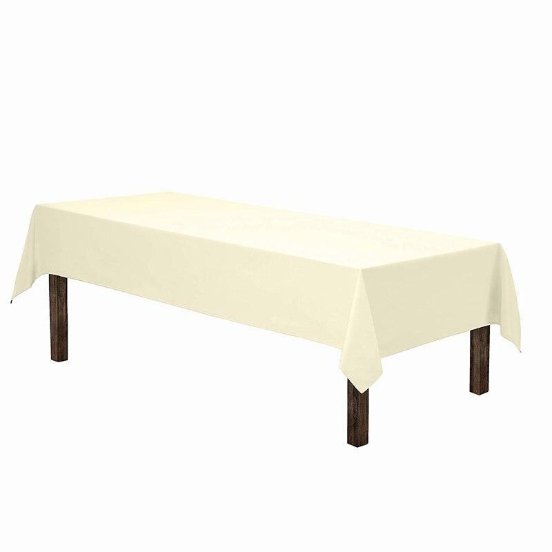 Mantel Rectangular-60x102 pulgadas-marfil mantel Rectangular, mesa de Nylon lavable de 6 pies, banquete en restaurante de Color sólido