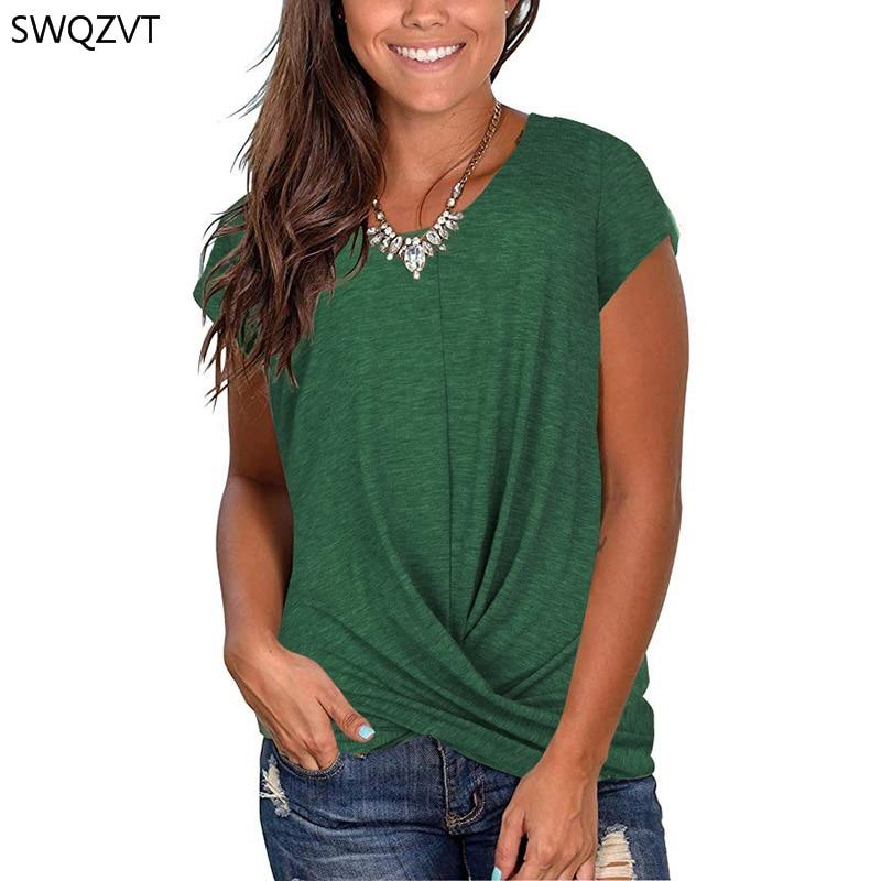 Camiseta Top para mujer, camiseta de manga corta con cuello redondo, Camiseta holgada informal para mujer, novedad de 2020, camiseta a la moda, ropa para mujer