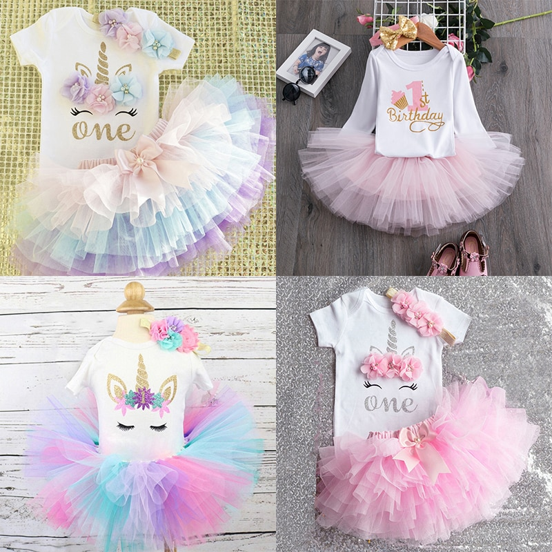 My Little Baby Girl First 1st Birthday Party Dress Cute Pink Tutu Cake Outfits Infant Dresses Baby G