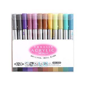 12 Colors Acrylic Paint Marker Pen for Ceramic Rock Glass Porcelain Mug Painting B85B