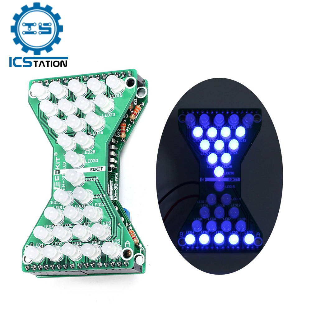 DC 5V Electronic Hourglass LED DIY Kit Double Layer PCB Board Components Soldering Practice Suite