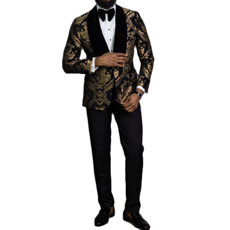 2 قطعة الأسود الأزهار الجاكار حفلة موسيقية الرجال الدعاوى يتأهل مع المخملية شال طية صدر السترة الزفاف العريس سهرة الذكور الأزياء الملابس