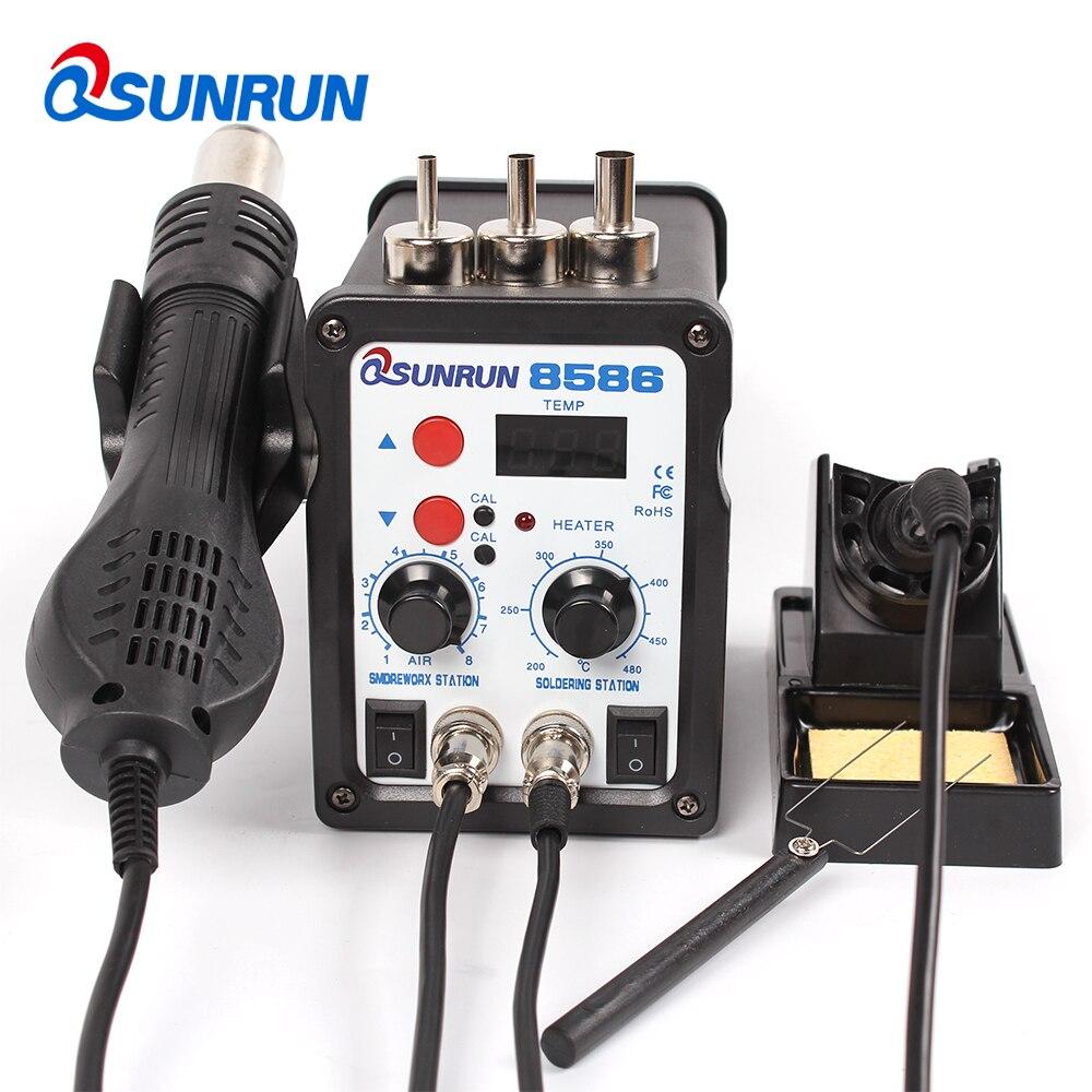 8586 110V/220V 750W Soldering Station 2 in 1 Digital Display SMD Hot Air Rework Station And Soldering Iron