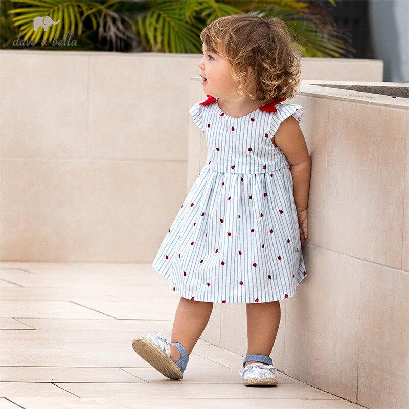 Dave bella/DB13130 летнее платье в полоску с бантом для маленьких девочек, детские вечерние платья с героями мультфильмов, модная детская одежда в стиле Лолита Платья для девочек    АлиЭкспресс