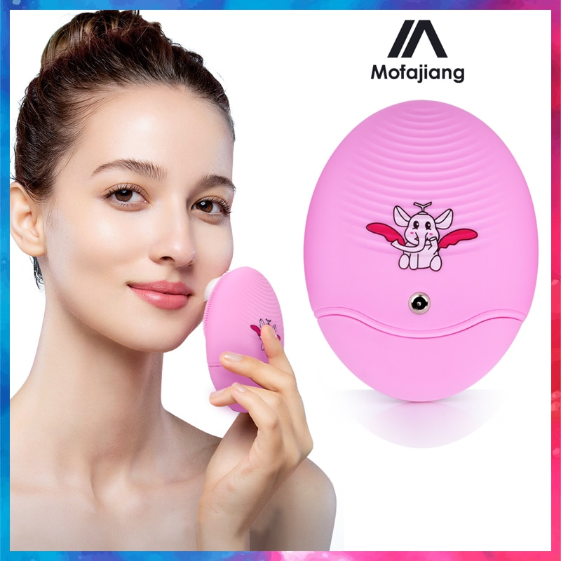 Electric Silicone Facial Cleansing Brush  Ultrasonic Vibration Blackhead Acne Remove Shrink Pore Deep Cleansing Skin Care Tools недорого