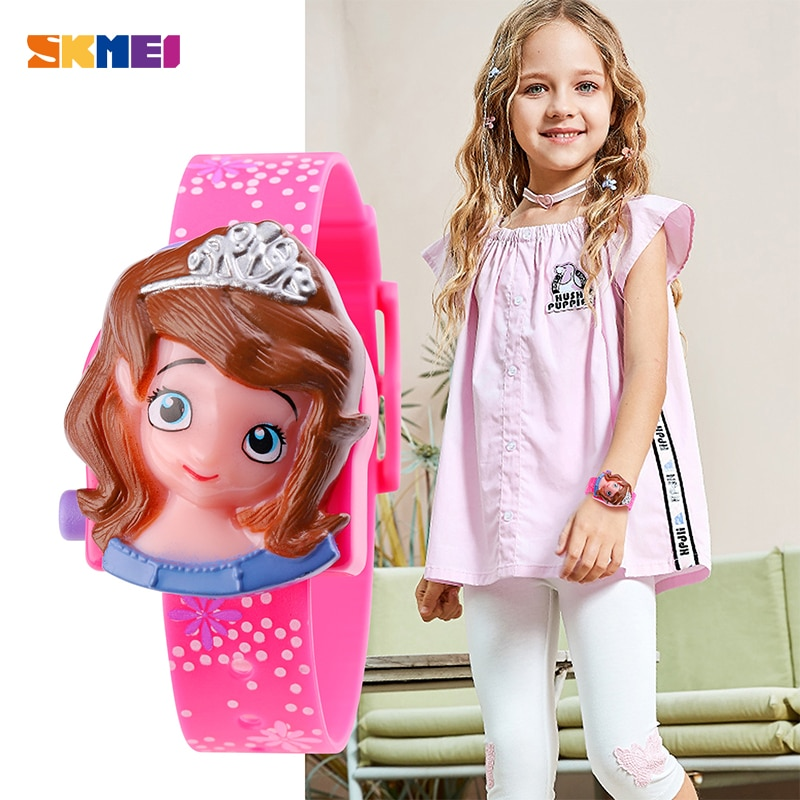 Children Brand Watches SKMEI Cartoon Frozen Princess LED Digital Clock Wristwatches Fashion Casual Electronic Kids Hour for Girl