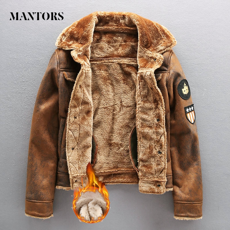 2020 Pu Jacke Männer Dicke Warme Militär Bomber Taktische Leder Jacken Herren Outwear Fleece Pelz Windjacke Mantel Männlichen 4XL Kleidung
