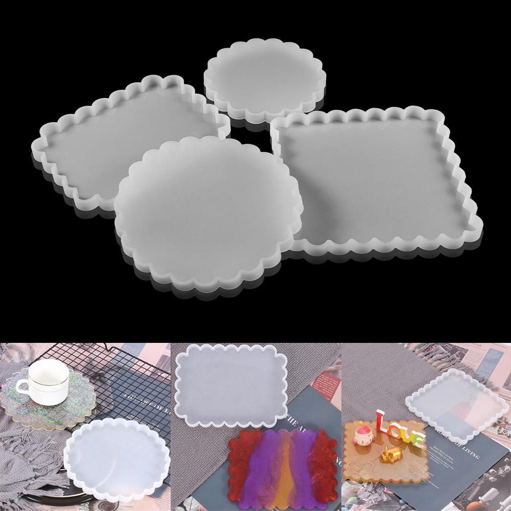 Круглая квадратная форма подставка силиконовая форма волнистый стиль лоток полимерные формы DIY эпоксидная смола ремесло украшение дома ин...