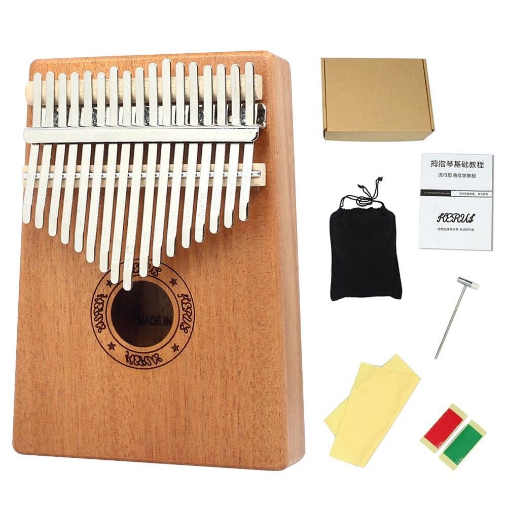 SFIT 17 teclas piano de pulgar Kalimba madera caoba cuerpo instrumento Musical con libro de aprendizaje Tune Hammer para principiantes Kalimba bolsa
