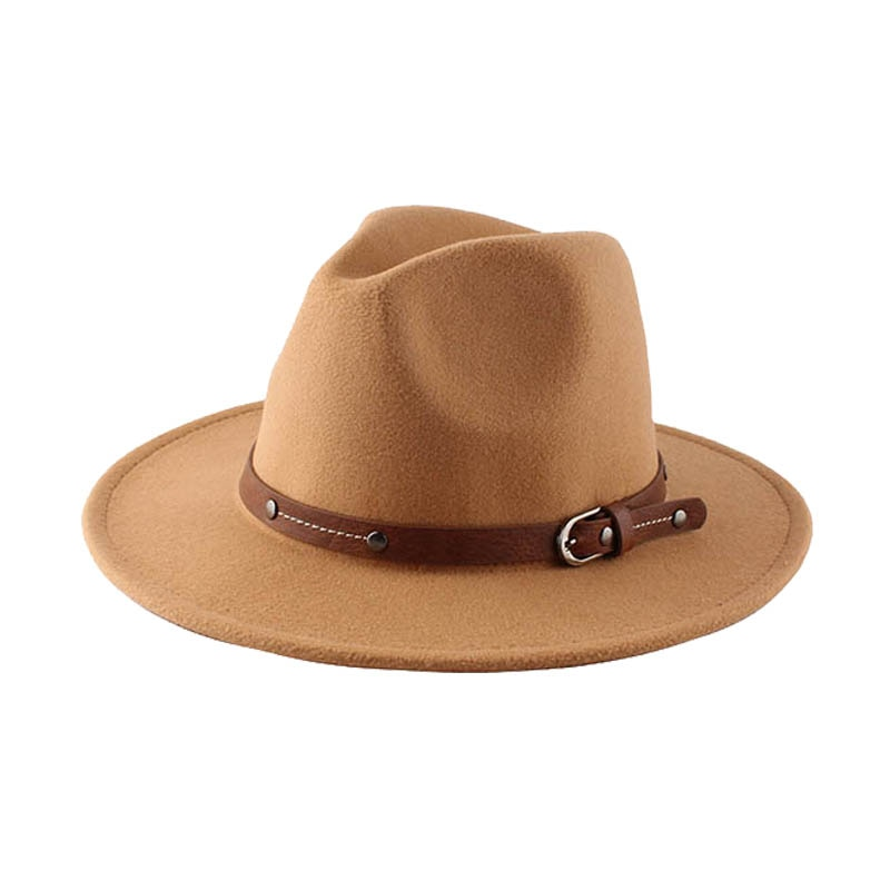 Newest Men Leather Felt Fedora Hat Floppy WomenCasual Cowboy Jazz Hats for Outdoor Concert
