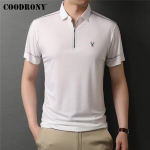 COODRONY Brand High Quality Summer New Arrival Pure Color Casual Short Sleeve Polo-Shirt Men Fashion Zipper Collar Tops C5234S